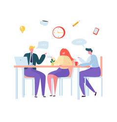 office coffee break business characters on lunch vector image
