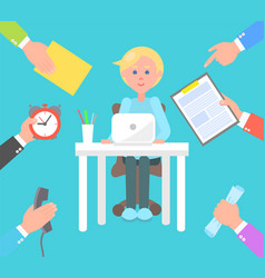 office worker and tasks set vector image