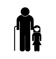 Old grandfather with granddaughter avatar vector