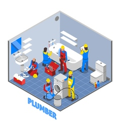 Plumber Isometric Composition vector image