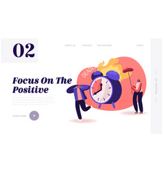 Positive negative thinking website landing page vector