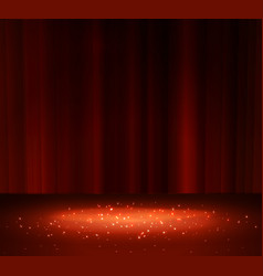 red curtain with a spotlight vector image