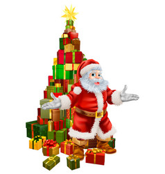 santa claus christmas tree gifts vector image
