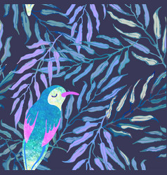 seamless background with palm leaves and birds vector image
