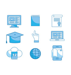 Set elearning education technology to certificate vector