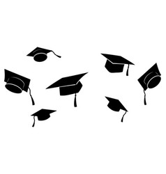 set flying graduation caps collection vector image