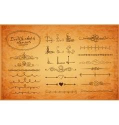 Set of doodle sketch decorative dividers vector image