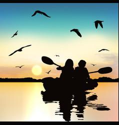Silhouette funny girls kayaking vector