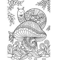 Snail on mushroom vector
