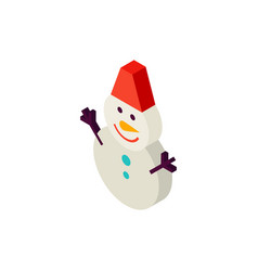 snowman with hat isometric object vector image