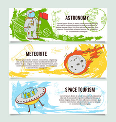 Space theme banners with flat astronomic symbols vector