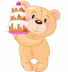 teddy bear with cake vector image