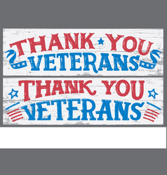Thank you veterans wood signs vector