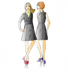 two fashion beautiful girls vector image