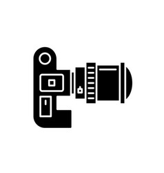 video camera black icon sign on isolated vector image