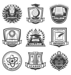 vintage monochrome educational labels set vector image