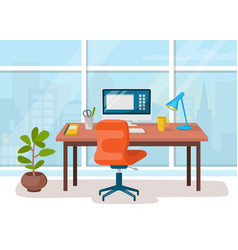 workplace cabinet office workspace with table vector image