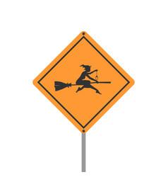 yellow road sign halloween vector image