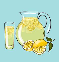 flat lemonade composition vector image