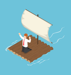 isometric businessman stranded on wooden raft vector image vector image