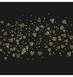 background with beautiful golden hearts vector image vector image