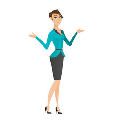 caucasian confused business woman with spread arms vector image vector image