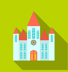 church icon flate single building icon from the vector image vector image