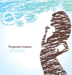 Drawn silhouette of pregnant woman vector image
