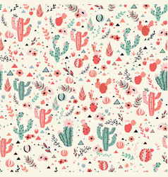 happy cacti seamless pattern vector image vector image