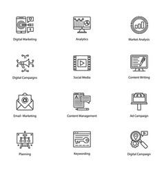 line icons of internet and digital marketing vector image vector image