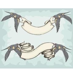 Swallows holding ribbons vector image vector image