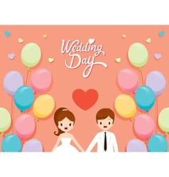 Wedding Invitation Card Bride Groom And Balloons vector image