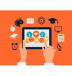 E-learning concept hands touching a tablet with vector