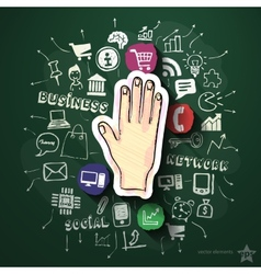 Hand collage with icons on blackboard vector image vector image