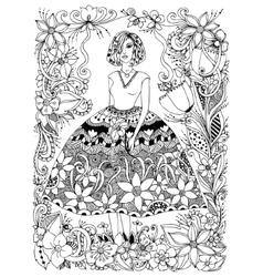 girl holding flower zentangl vector image