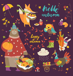set of cute autumn cartoon characters plants and vector image