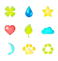 Set of nature symbols icons vector image vector image