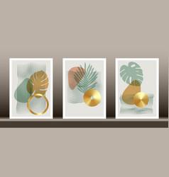 abstract geometric natural shapes poster set card vector image