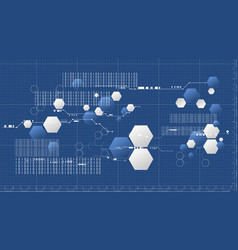 abstract technology hexagonal blueprint platform vector image