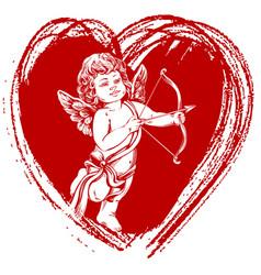 Angel little bacupid shoots a bow vector