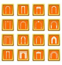 arch set icons set orange vector image