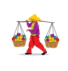 Asian Vendor Cartoon vector image