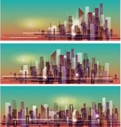 Banner night cityscape vector