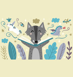 Banner with a cute wolf reading a fairytale vector