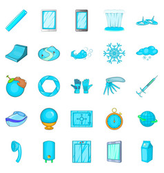 bathroom icons set cartoon style vector image