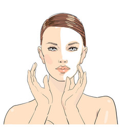 Beauty care beautiful girl young vector