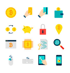 bitcoin cryptocurrency objects vector image