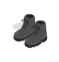 Black boots icon in isometric 3d style vector image