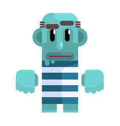 bold tramp with blue skin in stripy marine top vector image