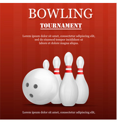 bowling tournament concept background realistic vector image